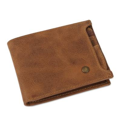 Handmade Leather Wallet in Cinnamon from Mexico