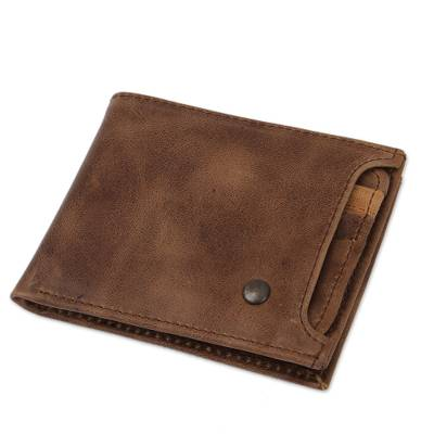 Handmade Leather Wallet in Mahogany from Mexico