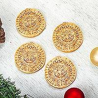 Ceramic ornaments, 'Aztec Cosmos' (set of 4) - Ceramic Aztec Calendar Ornaments from Mexico (Set of 4)