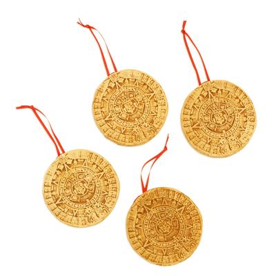Ceramic ornaments, 'Aztec Cosmos' (set of 4) - Ceramic Aztec Calendar Ornaments from Mexico (Set of 4)