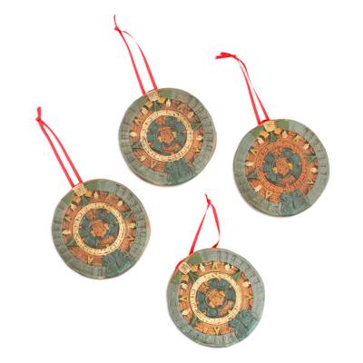 Handmade Ceramic Aztec Calendar Ornaments (Set of 4)