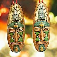 Ceramic ornaments, 'Mask Design' (pair) - Mask-Themed Ceramic Ornaments from Mexico (Pair)