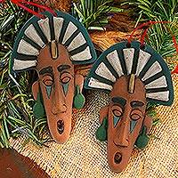 Ceramic ornaments, 'Ornate Masks' (pair) - Handmade Ceramic Mask Ornaments from Mexico (Pair)