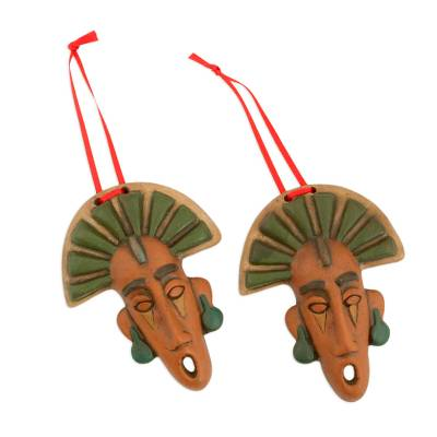 Artisan Crafted Ceramic Mask Ornaments from Mexico (Pair)