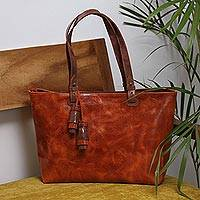 Leather shoulder bag, 'Beautiful Elegance in Spice' - Handcrafted Leather Shoulder Bag in Spice from Mexico