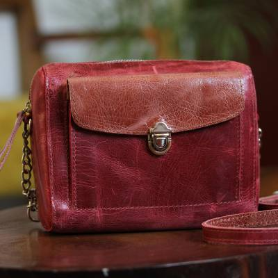 Leather sling, 'Cranberry Beauty' - Handmade Leather Sling in Cranberry from Mexico
