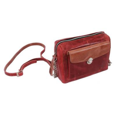 Handmade Leather Sling in Cranberry from Mexico