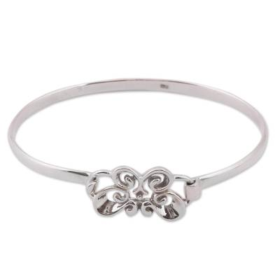 Taxco Sterling Silver Butterfly Bangle Bracelet from Mexico
