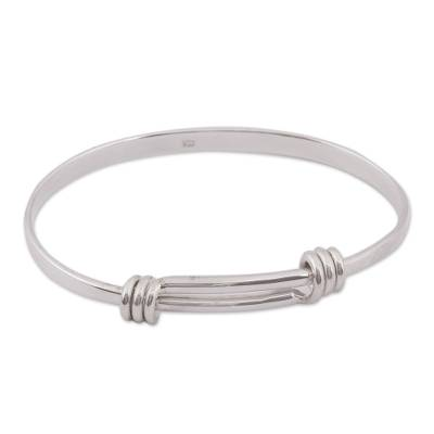Simple Sterling Silver Bangle Bracelet Crafted in Mexico