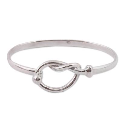 Lasso Motif Sterling Silver Bangle Bracelet from Mexico