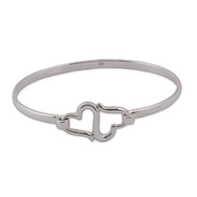 Sterling Silver Heart Bangle Bracelet from Mexico
