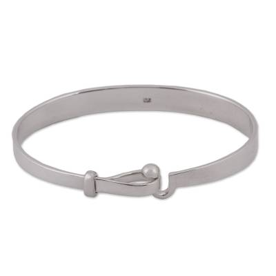 High-Polish Taxco Sterling Silver Bangle Bracelet