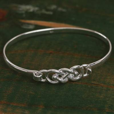 Sterling silver bangle bracelet, 'Irish Knot' - Knot Pattern Sterling Silver Bangle Bracelet from Mexico