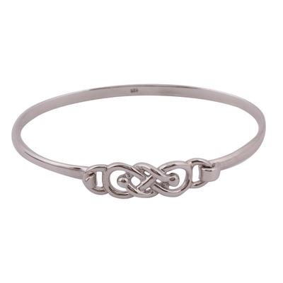 Knot Pattern Sterling Silver Bangle Bracelet from Mexico