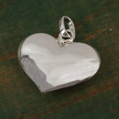 Sterling silver pendant, 'Heart and Purity' - Heart-Shaped Sterling Silver Pendant from Mexico