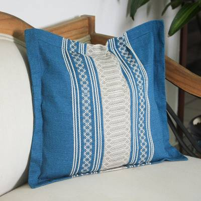 Cotton cushion cover, 'Sky and Land' - Handwoven Cotton Cushion Cover in Azure and Ivory