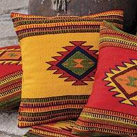 Wool cushion cover, 'Morning Star' - Woven Wool Cushion Cover from Mexico