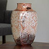 Silver accented copper vase, 'Peacock Gleam' - Silver Accented Copper Vase with Peacocks from Mexico