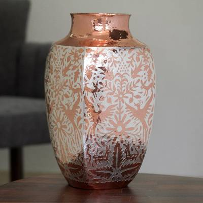 Silver Accented Copper Vase with Peacocks from Mexico