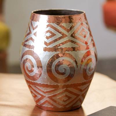 Silver accented copper vase, 'Ancient Pottery' - Spiral Motif Silver Accented Copper Vase from Mexico