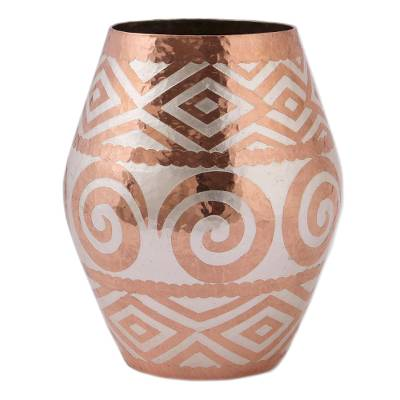 Spiral Motif Silver Accented Copper Vase from Mexico