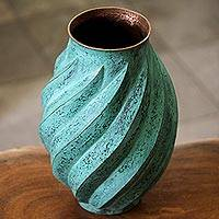 Copper vase, 'Antique Spirals' - Spiral Motif Copper Vase from Mexico