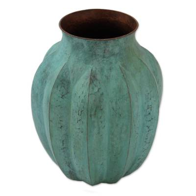 Antiqued Copper Vase from Mexico