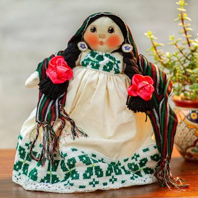 Cotton decorative Maria doll, 'Embroidered Dress' - Cotton Decorative Mexican Maria Doll in Embroidered Dress