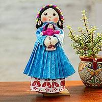 Cotton display doll, 'Otomi Girl in Azure' - Cotton Decorative Display Doll in Azure from Mexico