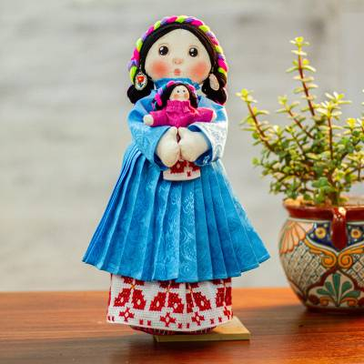 Cotton display Maria doll, 'Otomi Girl in Azure' - Cotton Decorative Display Maria Doll in Azure from Mexico