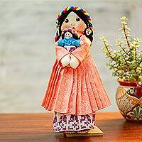 Cotton display doll, 'Otomi Girl in Honeysuckle' - Cotton Decorative Display Doll in Honeysuckle from Mexico
