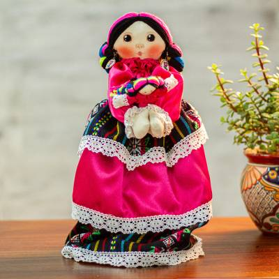 Cotton display doll, 'Beautiful Mother' - Cotton Decorative Doll with a Smaller Doll from Mexico