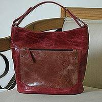 Leather tote, 'Feminine Beauty in Burgundy' - Handmade Leather Tote in Burgundy from Mexico
