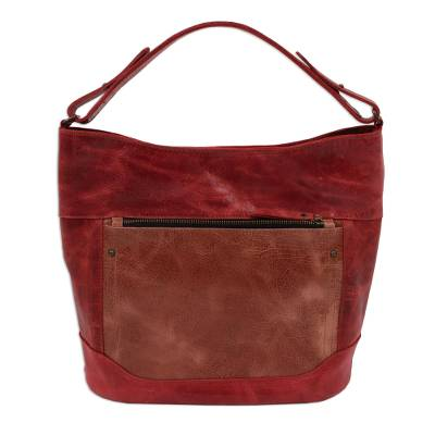 Handmade Leather Tote in Burgundy from Mexico