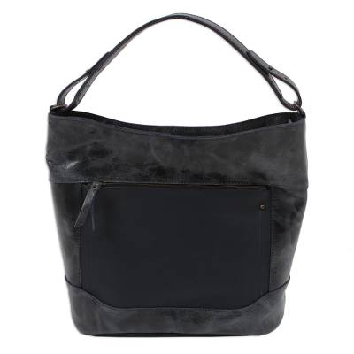 Handmade Leather Tote in Navy from Mexico