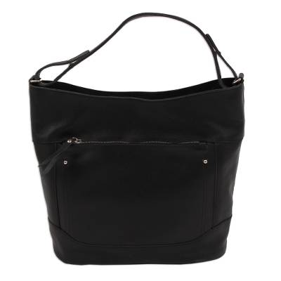 Handmade Leather Tote in Onyx from Mexico