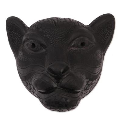 Handmade Black Ceramic Jaguar Mask from Mexico