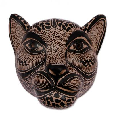 Ceramic Jaguar Mask in Buff from Mexico