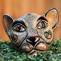 Ceramic mask, 'Pure Jaguar' - Handcrafted Ceramic Jaguar Mask from Mexico