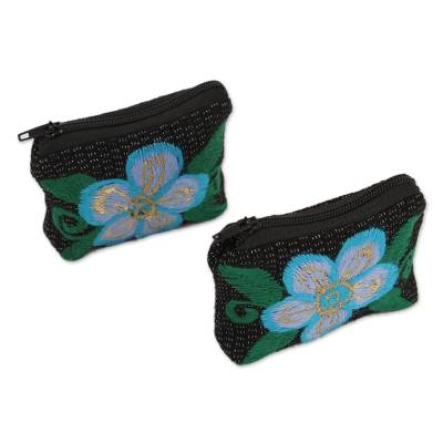 Floral Embroidered Cotton Coin Purses from Mexico (Pair)
