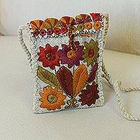 Cotton-embroidered wool sling,