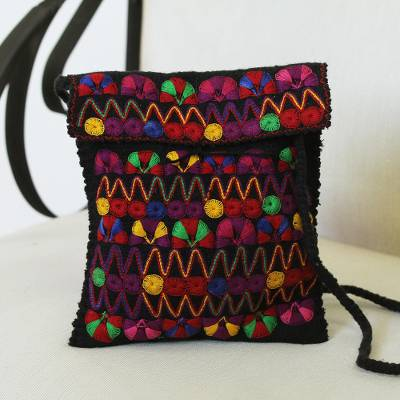 Cotton-embroidered wool sling, 'Vibrant Night' - Cotton-Embroidered Wool Sling from Mexico