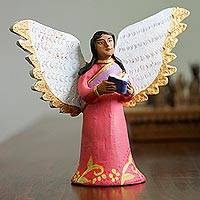 Ceramic sculpture, 'Studious Angel' - Hand-Painted Ceramic Sculpture of an Angel with a Book