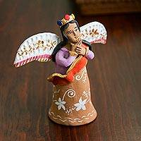 Ceramic sculpture, 'Glorious Angel' - Handcrafted Ceramic Angel Sculpture from Mexico