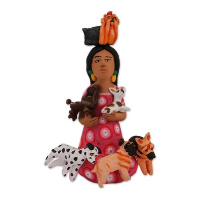 Hand-Painted Ceramic Sculpture of a Woman with Dogs