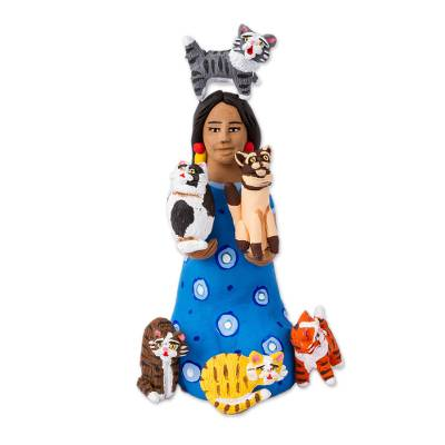 Hand-Painted Ceramic Sculpture of a Woman with Cats