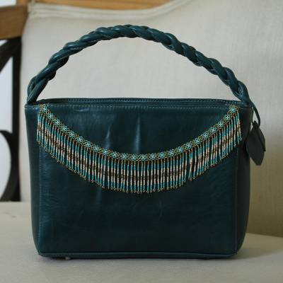 Leather handbag, 'Wave Crest' - Handcrafted Green Leather Handbag with Beaded Fringe Accent