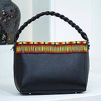 Leather handbag, 'Flame Flair' - Handcrafted Black Leather Handbag with Beaded Fringe Accent