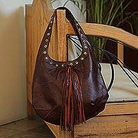 Leather shoulder bag, 'Relaxed Chic in Brown' - Handcrafted Brown Leather Hobo-Style Boho Chic Shoulder Bag