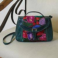 Cotton accent leather handbag, 'Lush Tropics' - Handcrafted Colorful Embroidered Green Leather Handbag